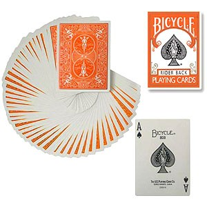 JEU DE CARTES COULEUR ORANGE(BICYCLE)