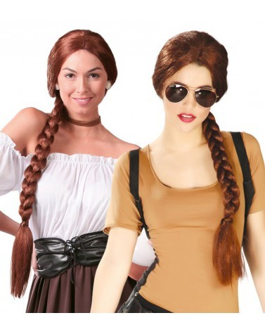 Perruque Tresse Chatain style Lara Croft