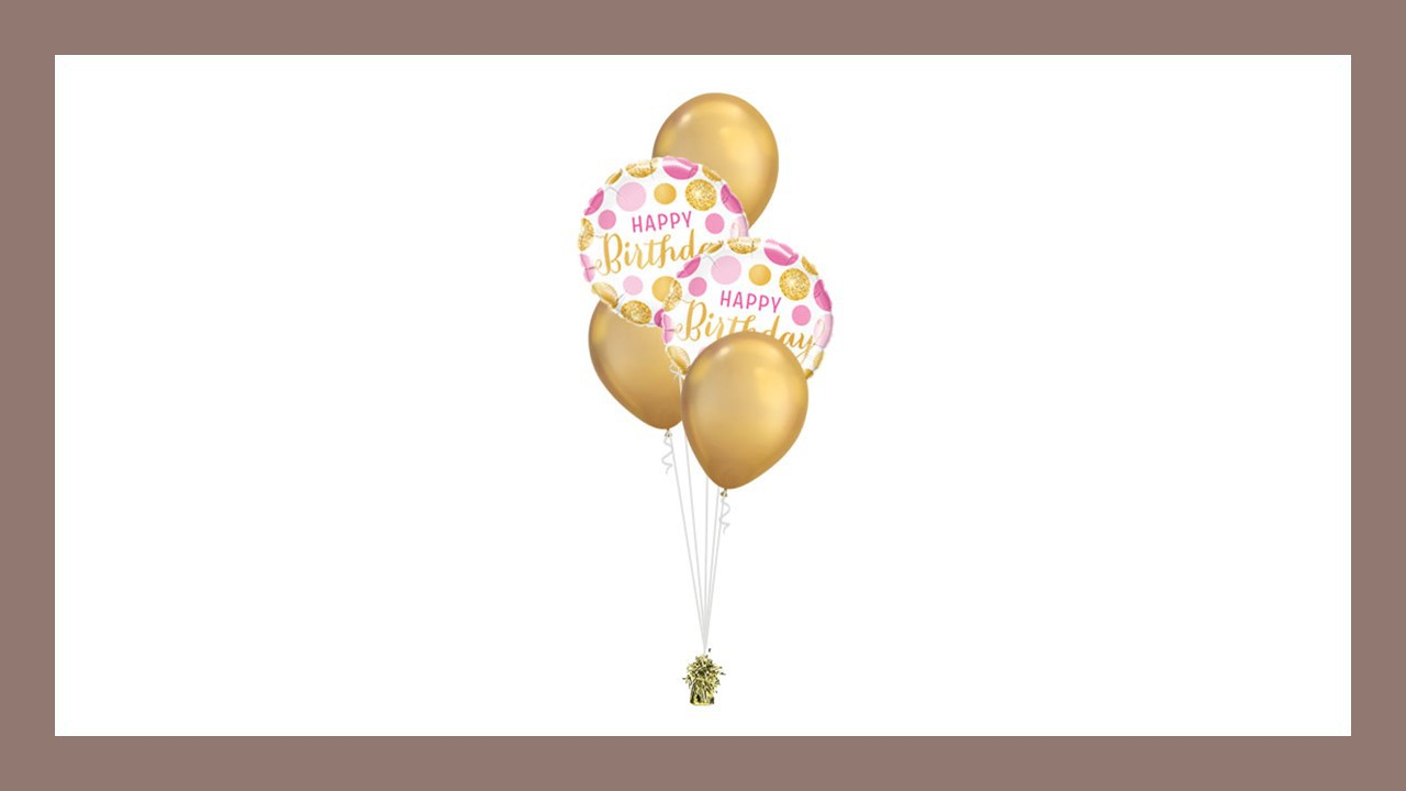 BOUQUET DÉCO HAPPY BIRTHDAY PINK GOLD DOTS