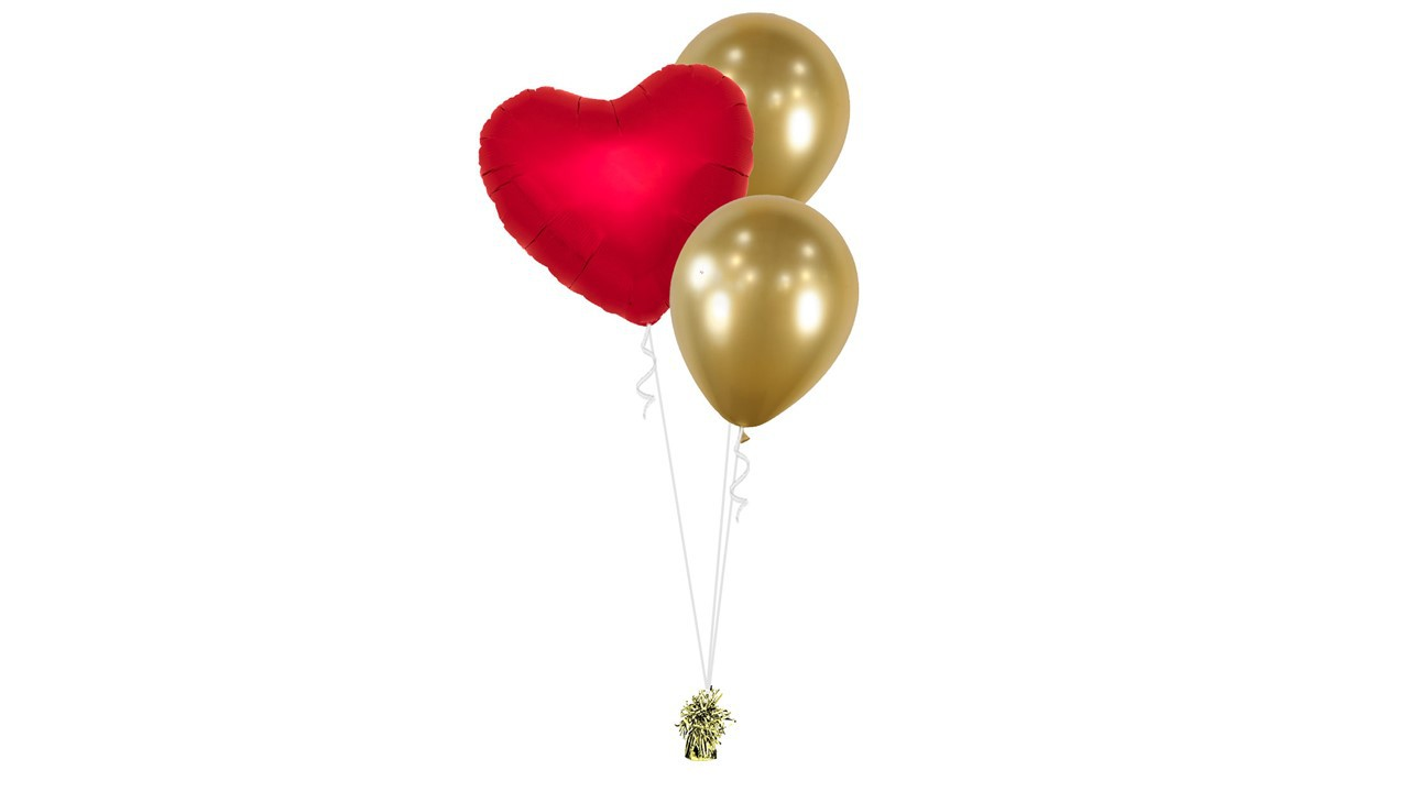 Bouquet Coeur Rouge Ballons or